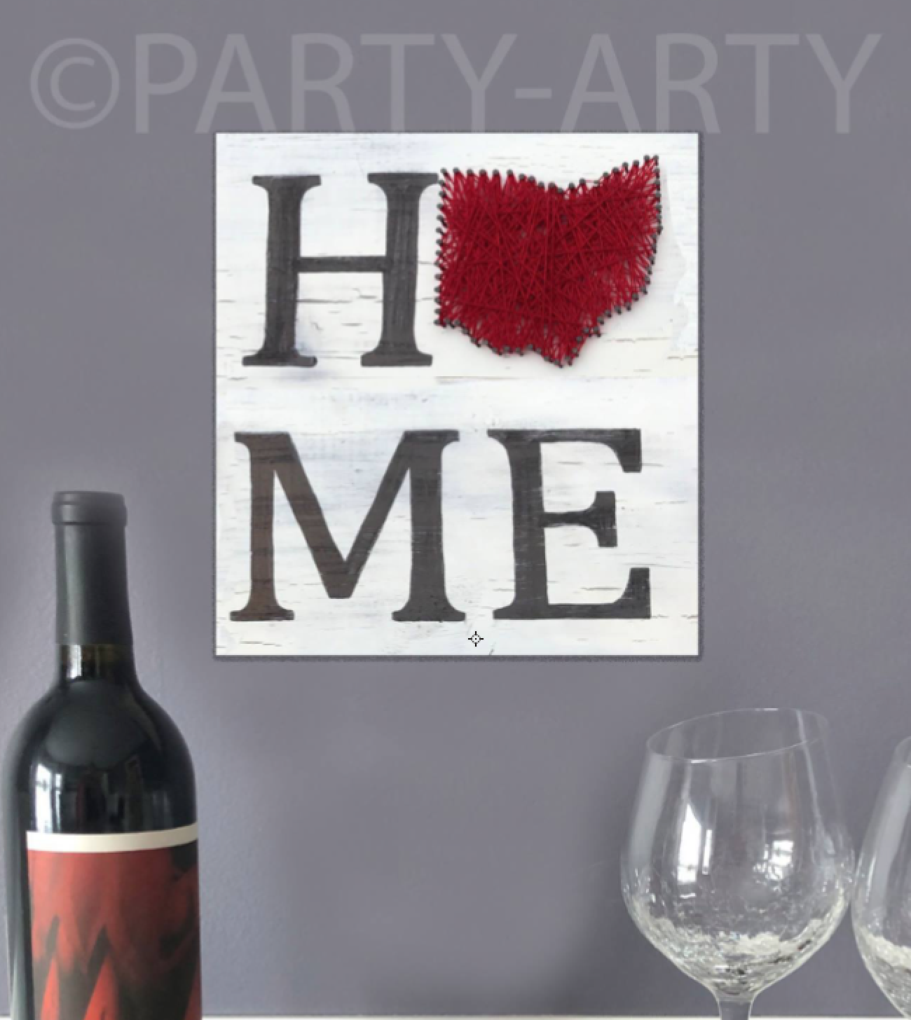 OHIO LOVE PAINTED PALLET W STRING ART -  MARCH 21 - SILVER RUN